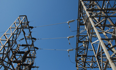 Transformer towers at an industrial facility